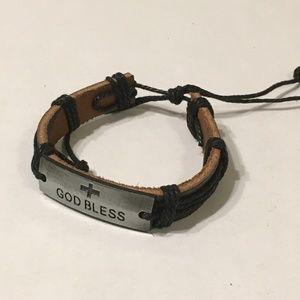 Jewelry - Black faux leather bracelet w God Bless charm